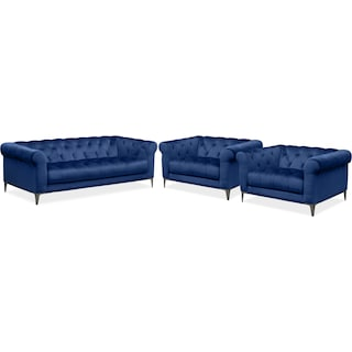 David Sofa and Two Cuddler Chairs Set - Indigo