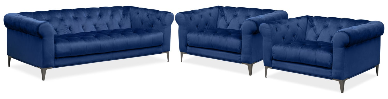 Living Room Furniture   David Sofa And Two Cuddler Chairs Set   Indigo