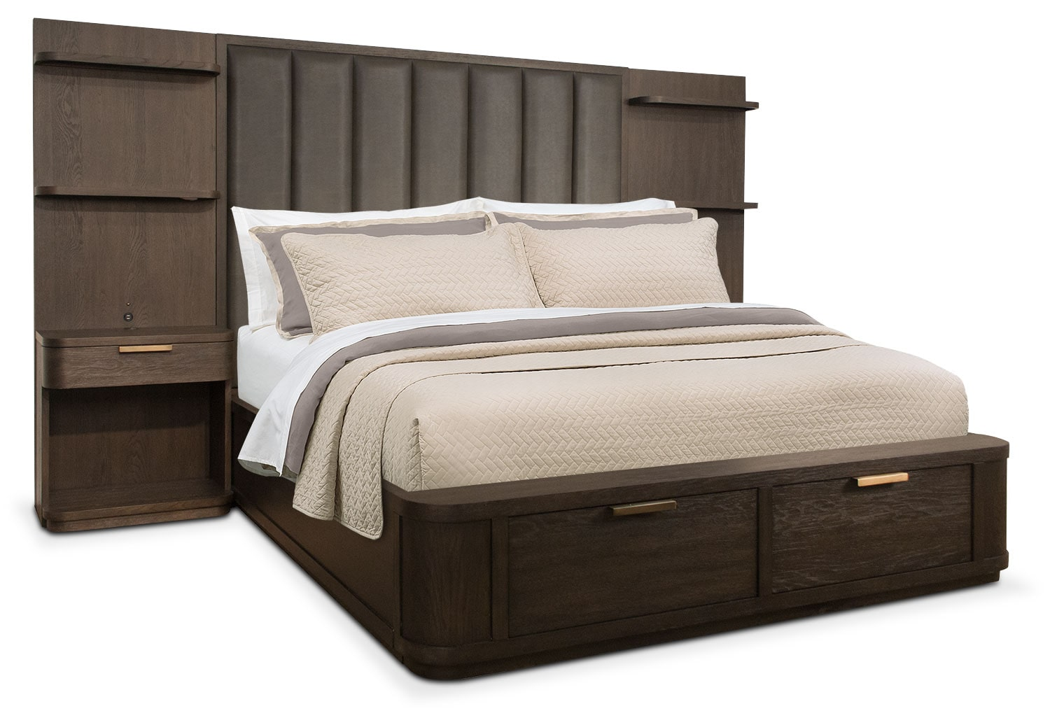 Malibu Queen Tall Upholstered Storage Wall Bed Umber