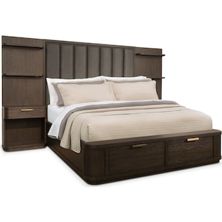 Malibu King Tall Upholstered Storage Wall Bed - Umber
