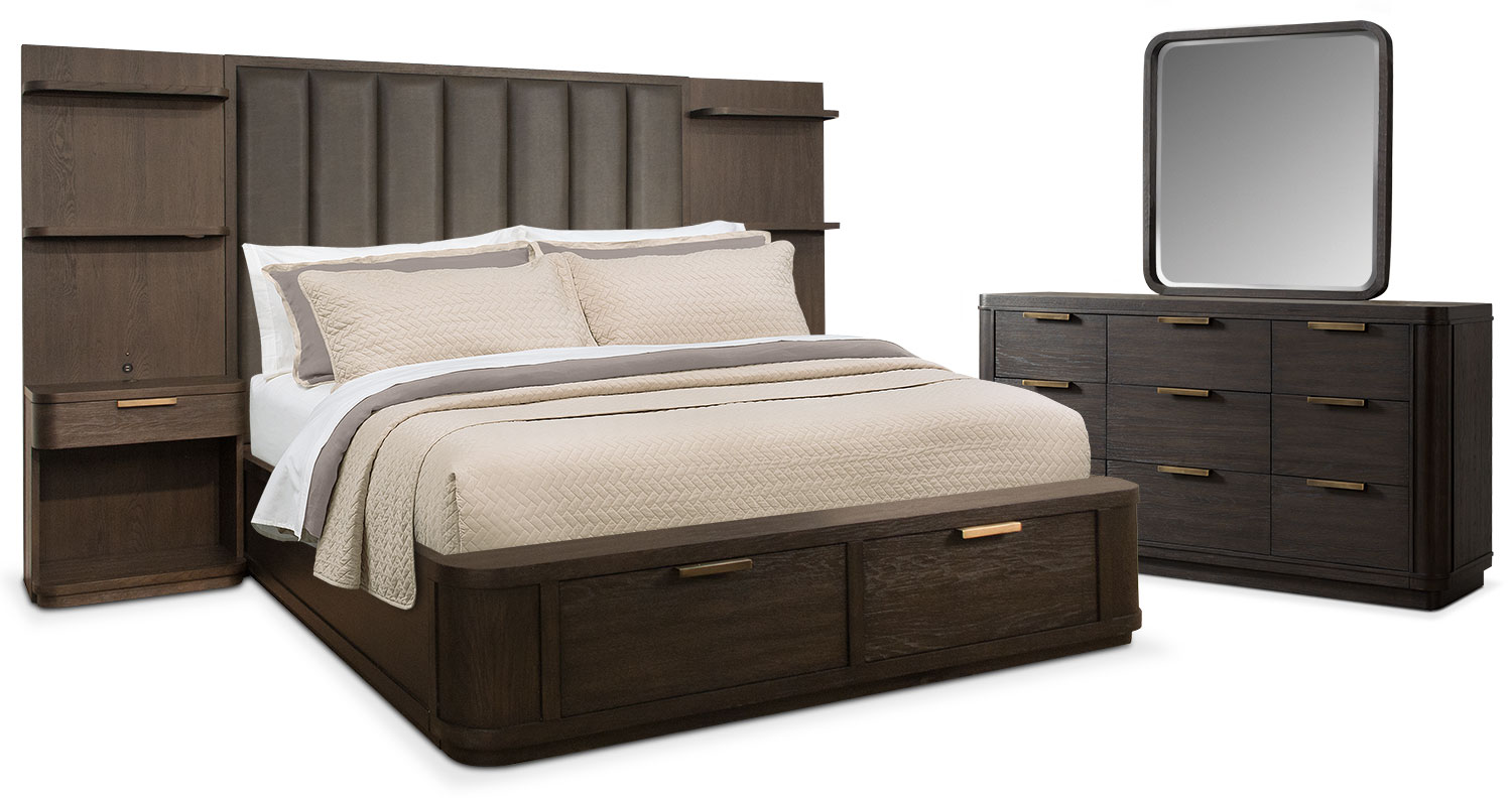 Malibu 5 Piece Queen Tall Upholstered Wall Storage Bedroom Set   Umber