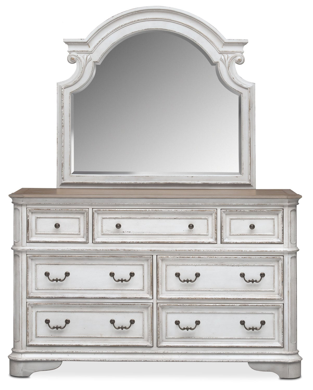 Marcelle Dresser And Mirror Vintage White American