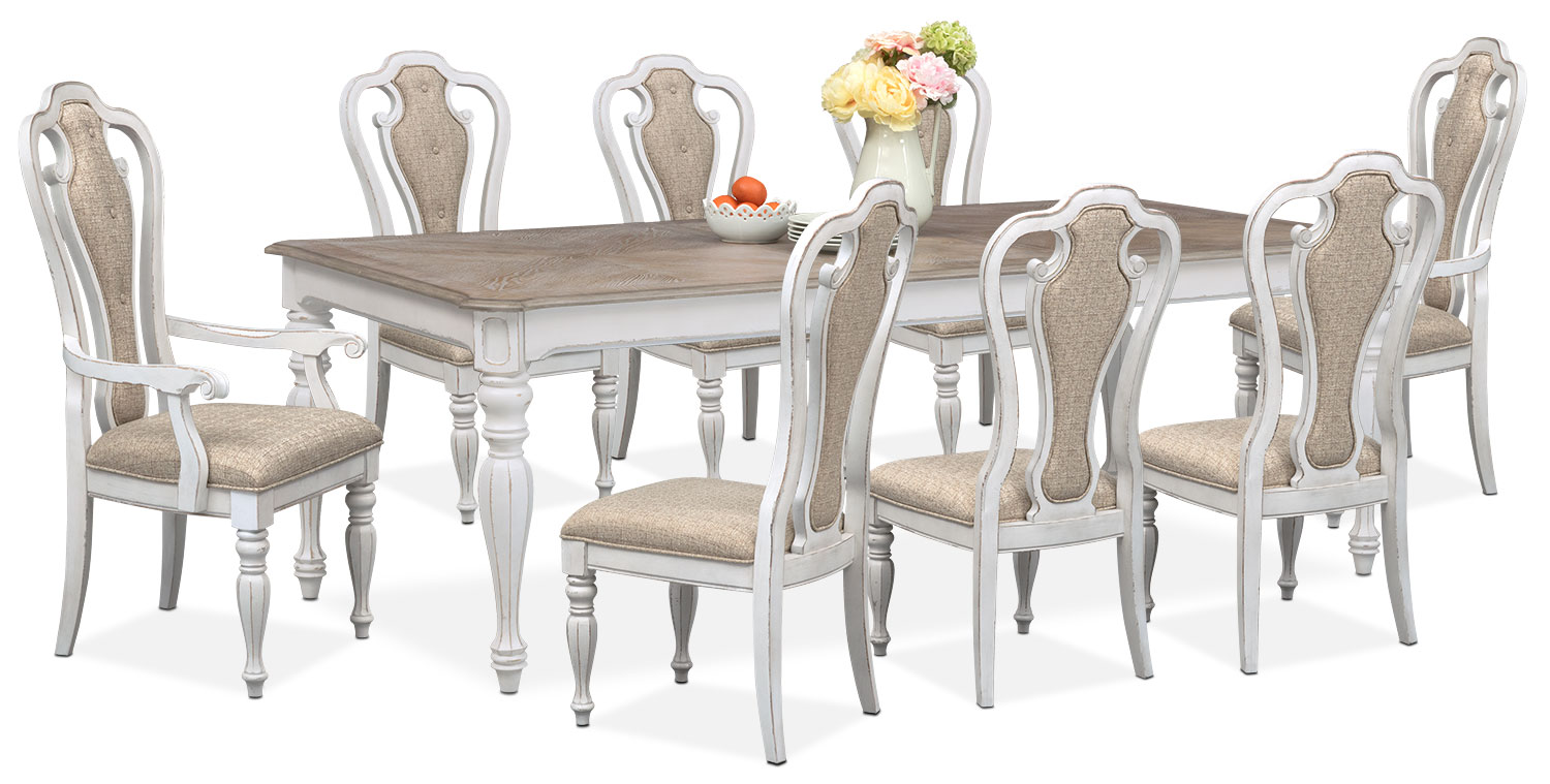 Marcelle Table, 6 Side Chairs and 2 Arm Chairs Set - Vintage White