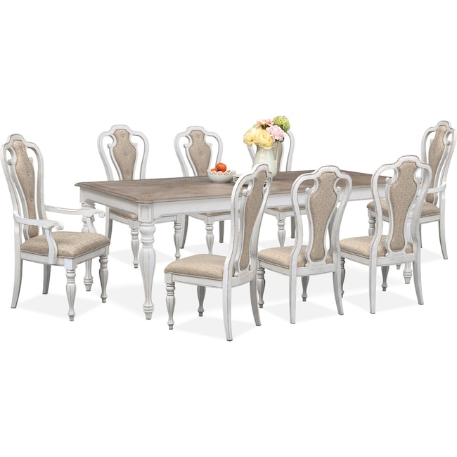 Dining Room Furniture - Marcelle Table, 6 Side Chairs and 2 Arm Chairs Set - Vintage White