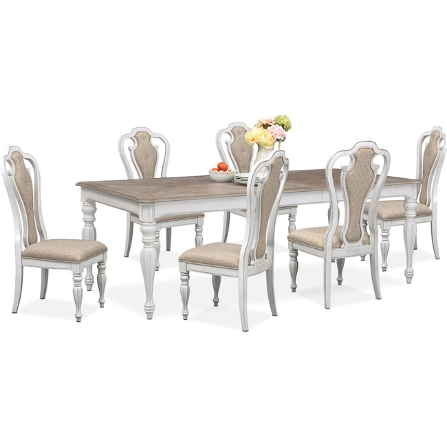 Dining Room Furniture - Marcelle Table and 6 Side Chairs - Vintage White