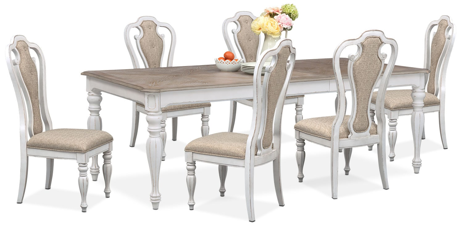 Dining Room Furniture   Marcelle Table And 6 Side Chairs Set   Vintage White