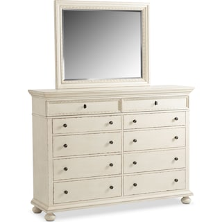 Langham 10-Drawer Dresser and Mirror - White
