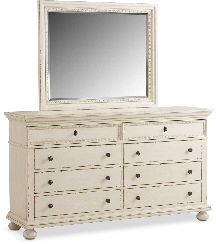 Langham 8-Drawer Dresser and Mirror - White