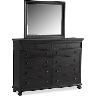 Langham 10-Drawer Dresser and Mirror - Black
