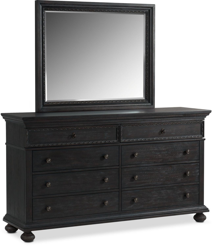 Langham 8-Drawer Dresser and Mirror - Black