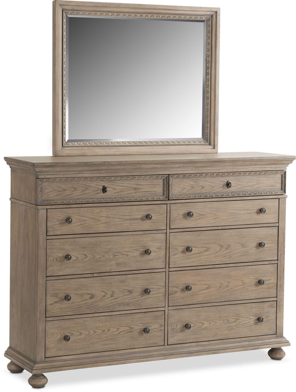 Langham 10-Drawer Dresser and Mirror - Natural