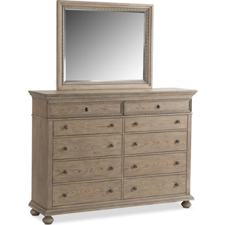 Langham 10-Drawer Dresser and Mirror - Natural