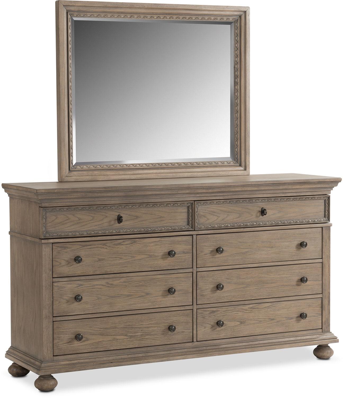 Langham 8-Drawer Dresser and Mirror - Natural