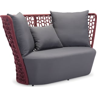 Presli Outdoor Sofa - Cranberry and Gray