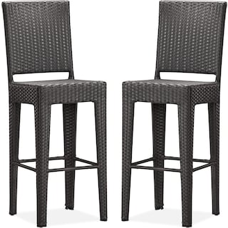 Jaxton Set of 2 Outdoor Barstools - Brown