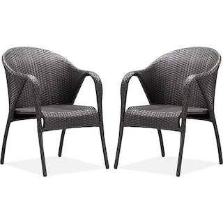 Panama 2-Piece Outdoor Arm Chairs - Espresso