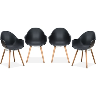 Troon Set of 4 Outdoor Dining Chairs - Black