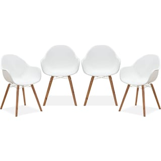 Troon Set of 4 Outdoor Dining Chairs - White
