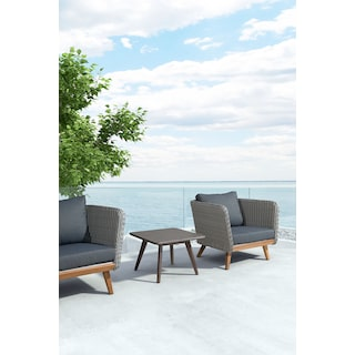 Zelda Outdoor Coffee Table - Cement and Walnut