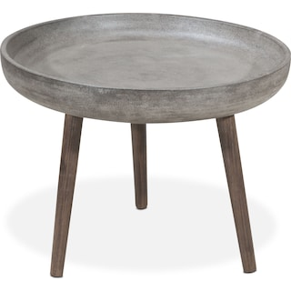 Zelda Outdoor End Table - Cement and Walnut