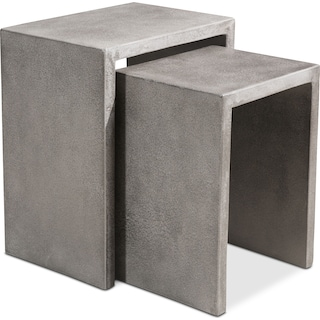 Zelda Outdoor 2-Piece Nesting Side Tables - Cement
