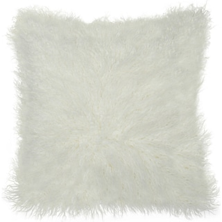 Faux Fur Decorative Pillow - White
