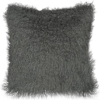 Faux Fur Decorative Pillow - Dark Gray