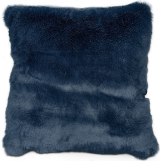 Faux Fur Decorative Pillow - Blue