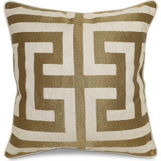 Greek Key Decorative Pillow - Bronze