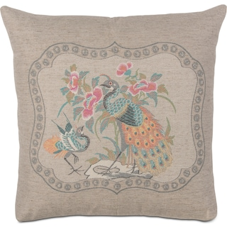 Peacock Decorative Pillow - Beige