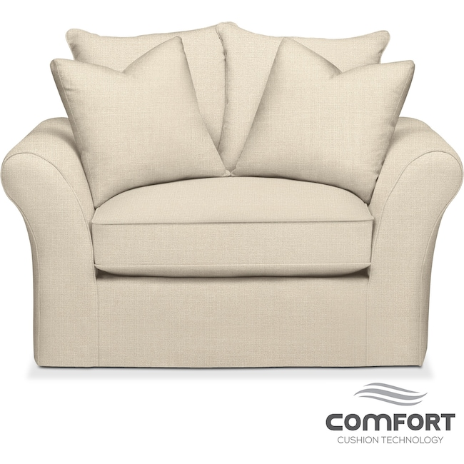 Living Room Furniture - Allison Comfort Chair and a Half - Cream