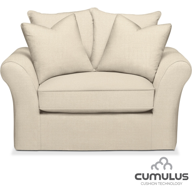 Living Room Furniture - Allison Cumulus Chair and a Half - Cream