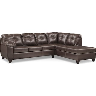 Ricardo 2-Piece Queen Memory Foam Sleeper Sectional with Right-Facing Chaise - Brown