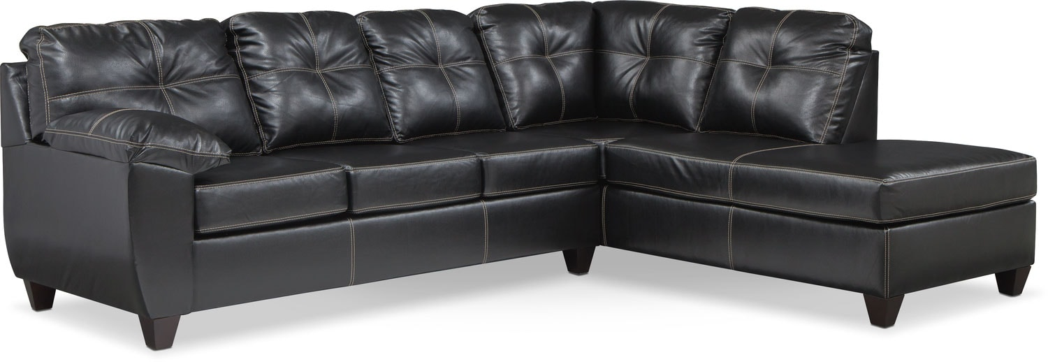 Ricardo 2 Piece Memory Foam Sleeper Sectional With Right Facing Chaise    Onyx