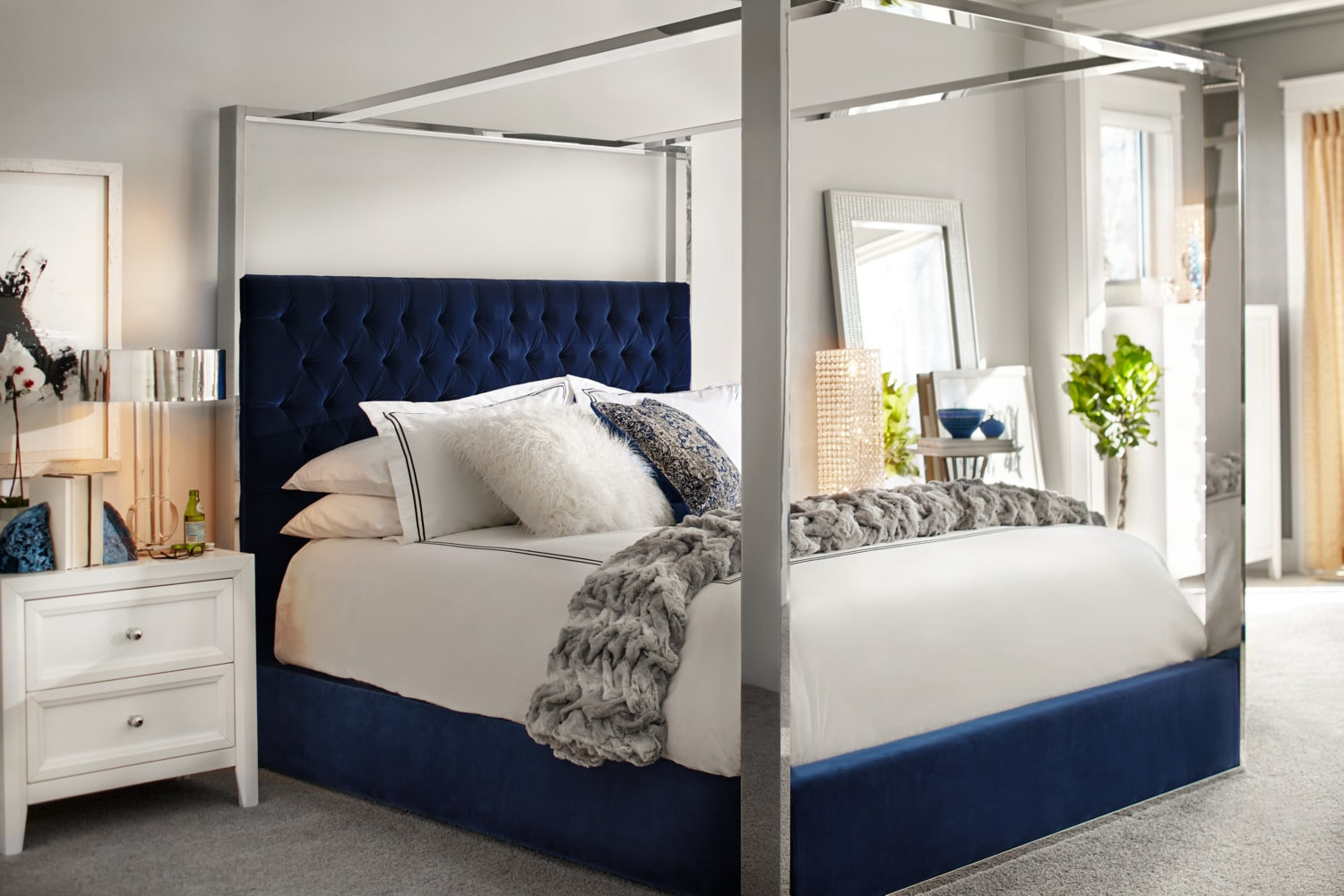 presley queen canopy bed - blue | american signature furniture