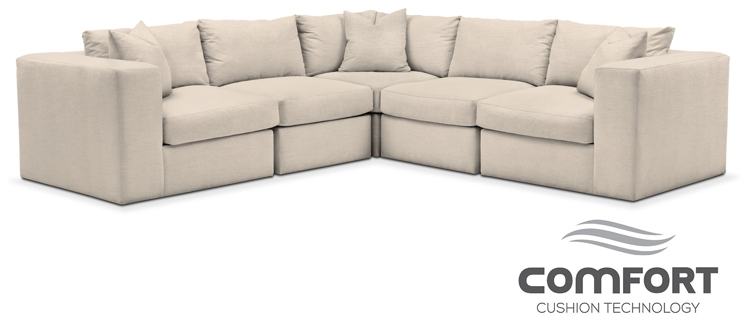 Living Room Furniture - Collin Comfort 5-Piece Sectional - Curious Pearl  sc 1 st  American Signature Furniture : american signature sectional - Sectionals, Sofas & Couches