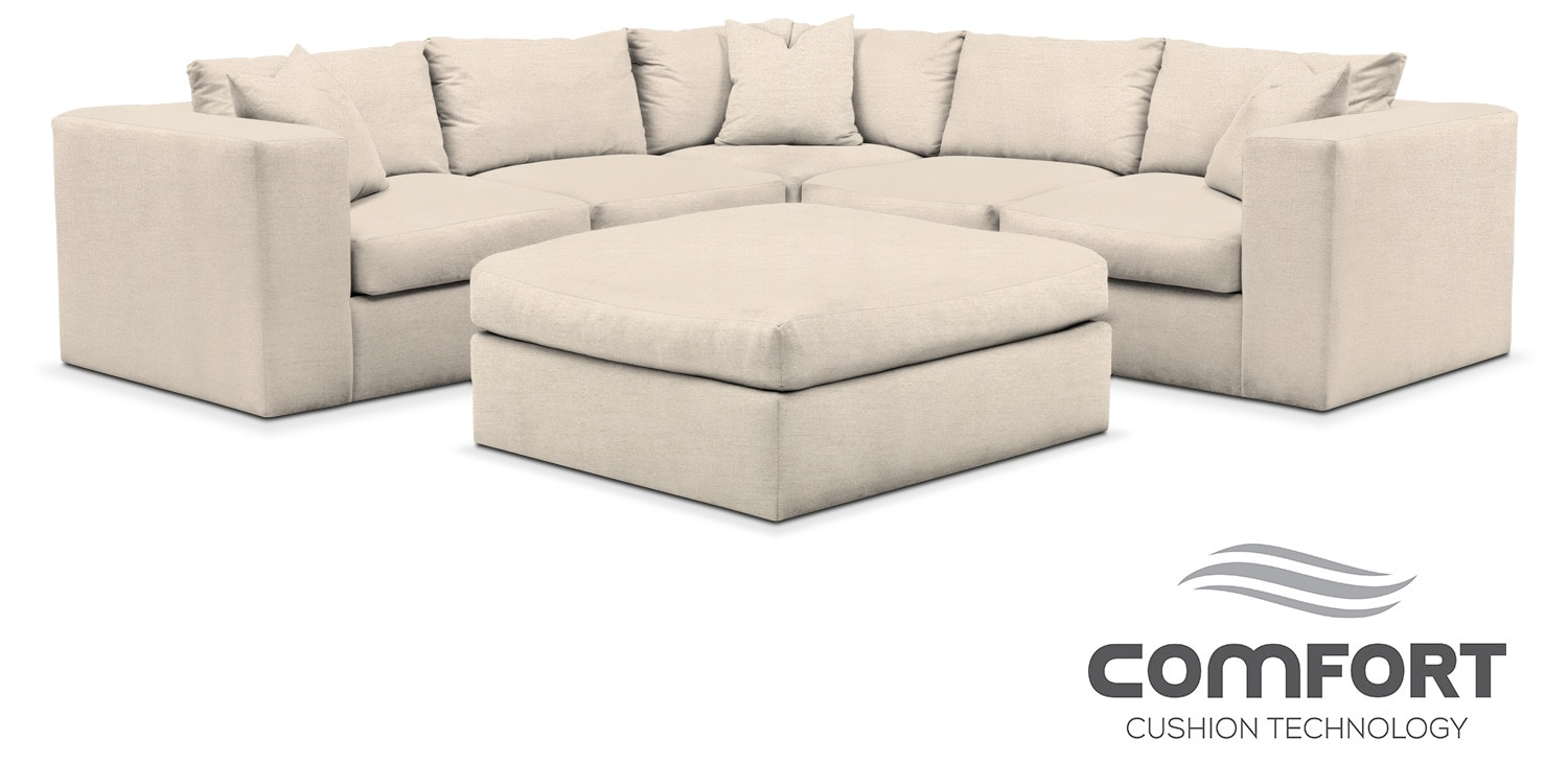 Collin comfort 6 piece sectional curious pearl for Comfort living furniture