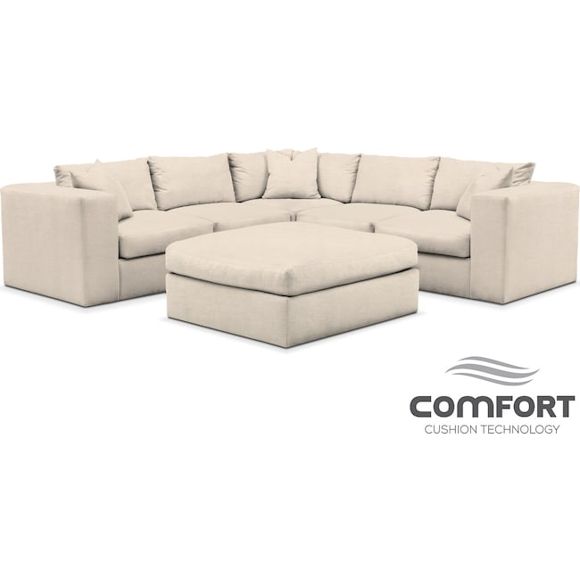 Living Room Furniture - Collin Comfort 6-Piece Sectional - Pearl