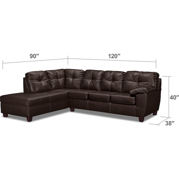 Living Room Furniture - Ricardo 2-Piece Sectional with Chaise