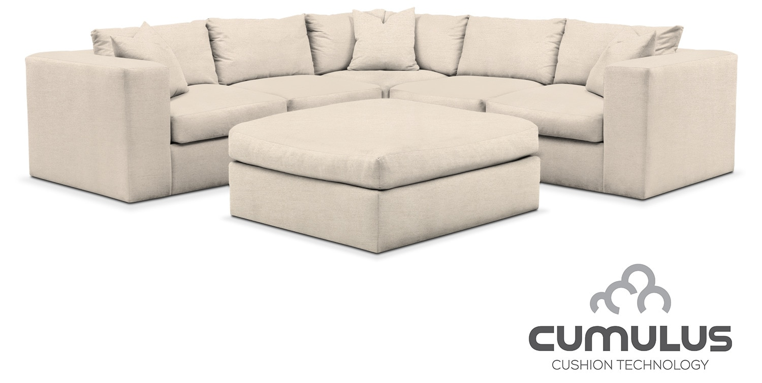 Collin cumulus 6 piece sectional curious pearl for American signature furniture locations pa