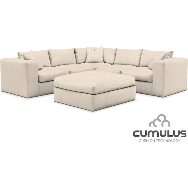 Living Room Furniture - Collin Cumulus 6-Piece Sectional - Curious Pearl
