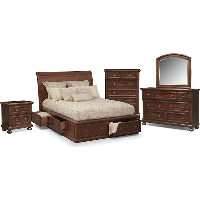 Bedroom Furniture - Hanover 7-Piece Storage Bedroom Set with Chest, Nightstand, Dresser and Mirror