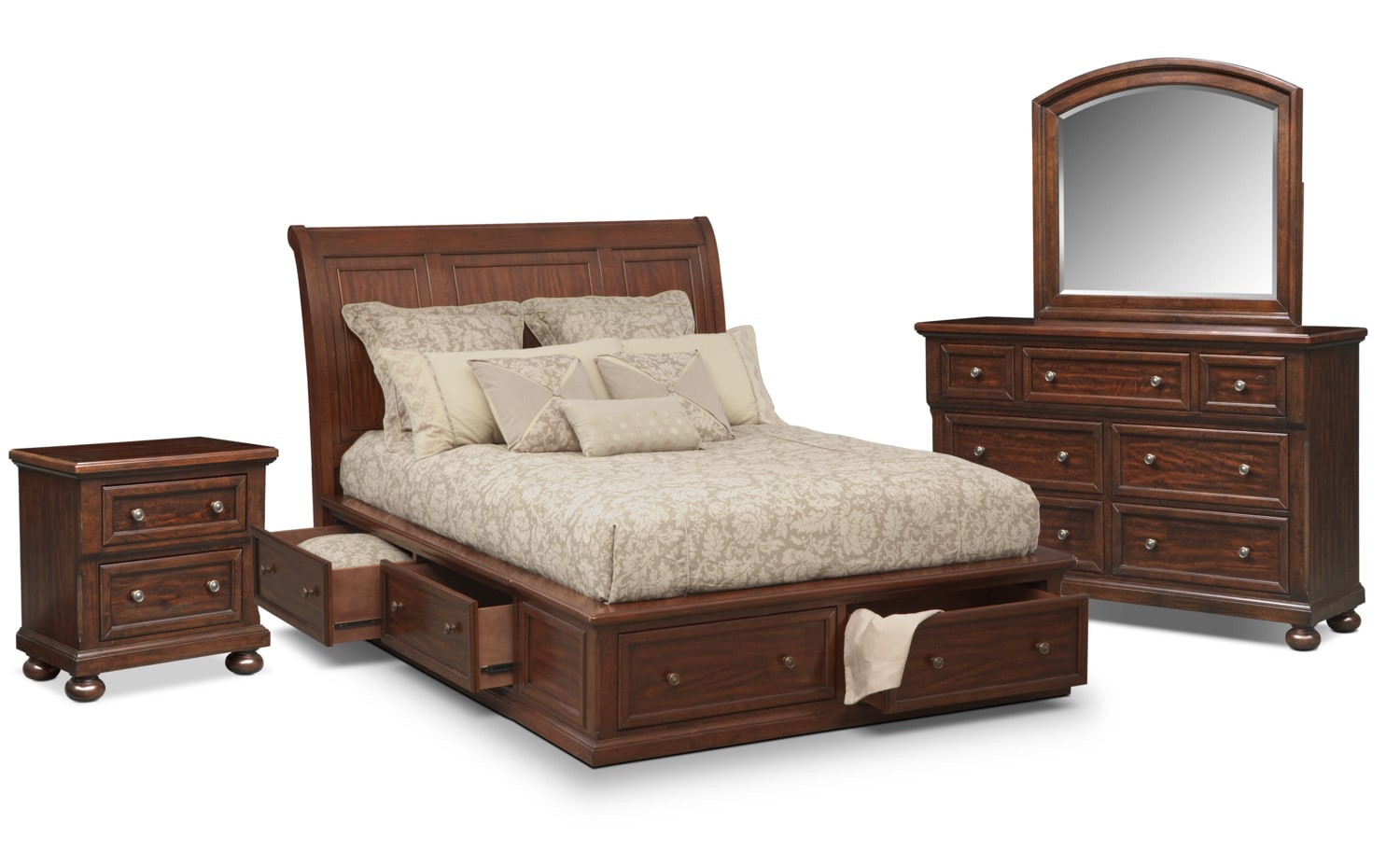 bedroom furniture hanover 6 piece king storage bedroom set cherry