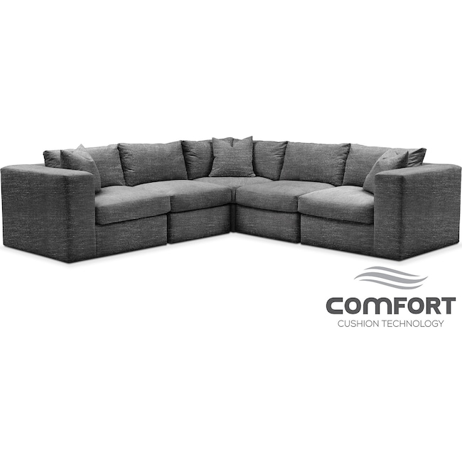 Living Room Furniture - Collin Comfort 5-Piece Sectional - Curious Charcoal