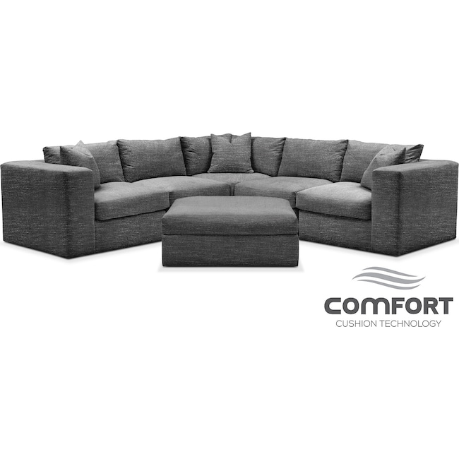Living Room Furniture - Collin Comfort 6-Piece Sectional - Curious Charcoal