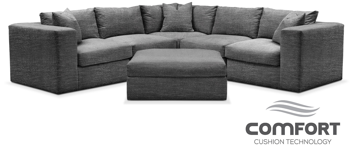 Collin Comfort 6-Piece Sectional - Curious Charcoal by Kroehler  sc 1 st  American Signature Furniture : american signature sectional - Sectionals, Sofas & Couches