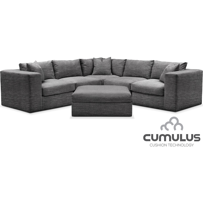 Living Room Furniture - Collin Cumulus 6-Piece Sectional - Gray