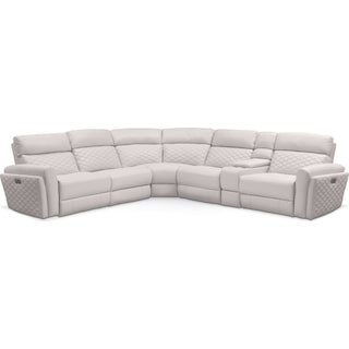 Catalina 6-Piece Power Reclining Sectional with 3 Reclining Seats - Ivory