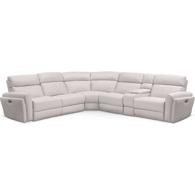 Living Room Furniture - Catalina 6-Piece Power Reclining Sectional with 3 Reclining Seats - Ivory