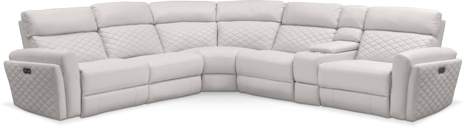 Living Room Furniture - Catalina 6-Piece Power Reclining Sectional with 2 Reclining Seats